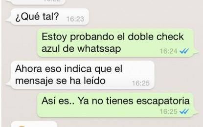 Whatsapp inicia ´doble check azul´ en textos leídos